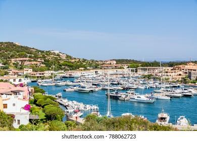 Panoramic view of marina in Porto Cervo, Sardinia, Costa Smeralda, Italy