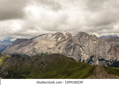 a panoramic view of the marmolada glacier seen from the pordoi pass