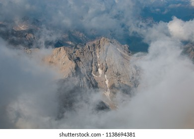 Panoramic view of Marmolada mountain range with Marmolada glacier in Dolomites, Italy