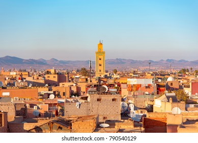 Panoramic view of Marrakech or Marrakesh with the old part of town Medina and minaret