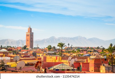 Panoramic view of Marrakech and old medina, Morocco
