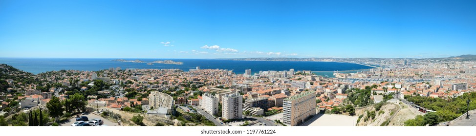 panoramic view of marseille France old harbour and cityscape view from the hill of notre dame de la garde famous landmark