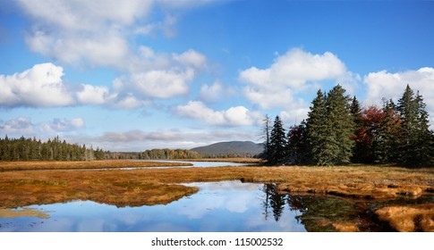 A Panoramic View Of The Marsh Land Surrounding The Marshall Brook, A Winding Waterway, Also Called Bass Harbor Marsh At Acadia National Park, Maine, USA