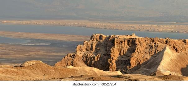Panoramic view of Masada stronghold, Judea Desert, Israel