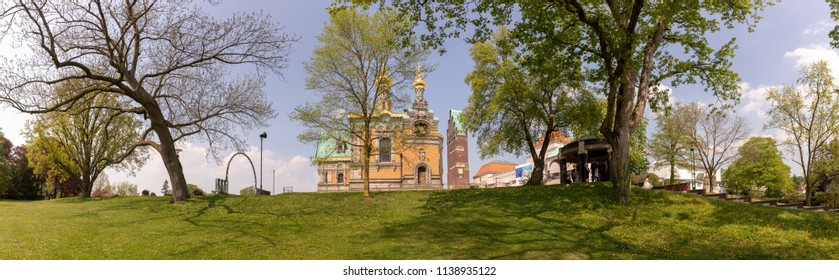 panoramic view of Mathildenhoehe in Darmstadt with wedding tower and orthodox church