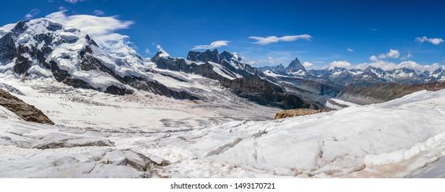 Panoramic view of the Matterhorn from Monte Rose glacier. Swiss alps. Switzerland. Summer.