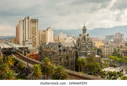 Panoramic view of Medellin downtown and Metro Station