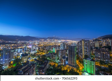 Panoramic view of Medellin at night