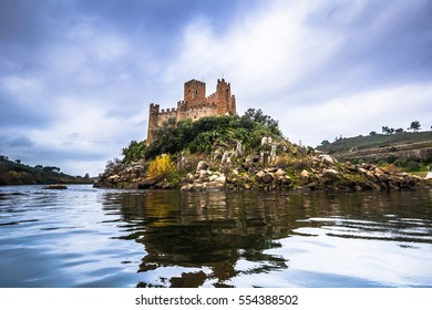 Panoramic view of the medieval castle of Almourol in Ribatejo, Portugal