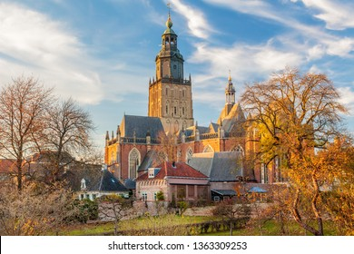 Panoramic view of the medieval city center of the Dutch town Zutphen in Gelderland