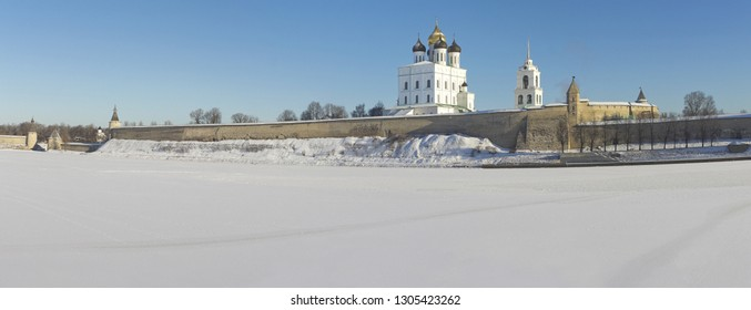 Panoramic view of medieval kremlin with Trinity cathedral in Pskov, Russia
