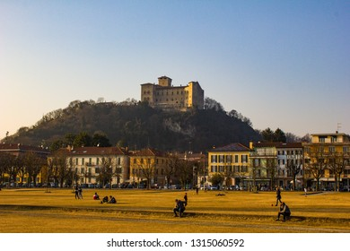 Panoramic view of medieval Rocca Borromea of Angera, a fortress built between the eleventh and seventeenth centuries. The city of Angera, Italy 16/02/2019, located on the shores of Lake Maggiore.