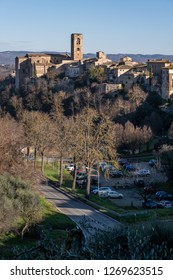 Panoramic view with the medieval towers of the village of Colle di Val d'Elsa, Siena, Tuscany