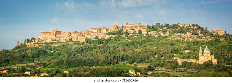 Panoramic view of the medieval village of Montepulciano, Tuscany, Italy