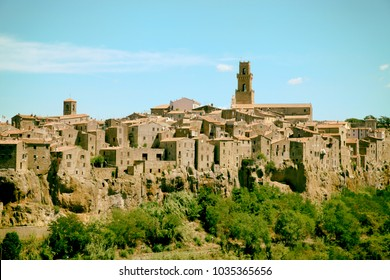 Panoramic view of the medieval village Pitigliano founded in Etruscan time on the tuff hill, Grosseto, Tuscany, Italy