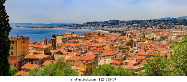 Panoramic View Of The Mediterranean Coastline And The Rooftops Of The Old  Town, Vieille Ville