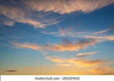 Panoramic view of Mediterranean sea, sky with dramatic clouds at golden sunset in Palma de Mallorca, Spain.