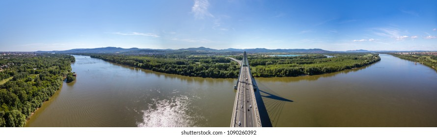 Panoramic view of Megyeri Bridge spanning over River Danube by Budapest, Hungary, seen from above