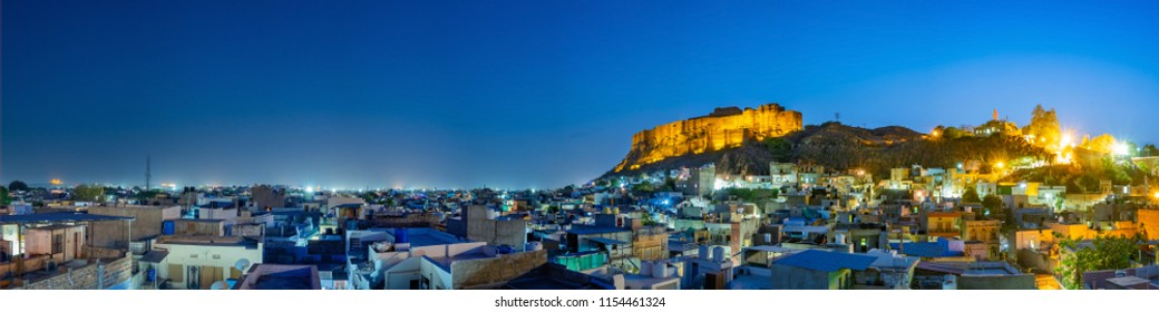 Panoramic view of Mehrangarh fort at Jodhpur on evening time, Rajasthan, India. An UNESCO World herritage.