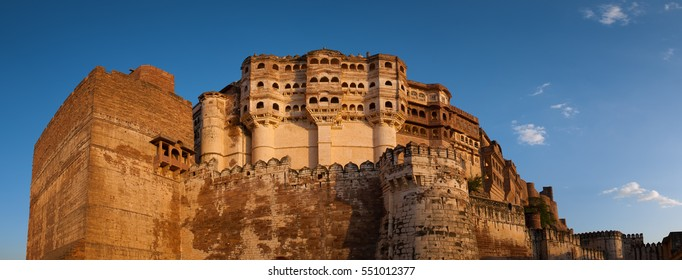 Panoramic view of the Mehrangarh Fort in Jodhpur, Rajasthan, one of the largest forts in India