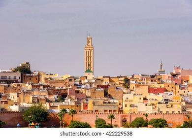 Panoramic view of Meknes, a city in Morocco which was founded in the 11th century by the Almoravids as a military settlement,