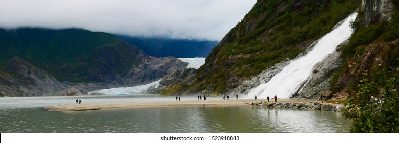 Panoramic view of Mendenhall Glacier and Nugget Falls located in Mendenhall Valley near Juneau, Alaska