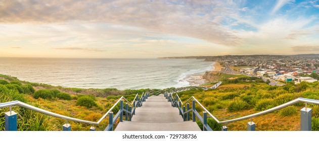 Panoramic view of Merewether beach at sunrise from the Newcastle Memorial Walk, Australia