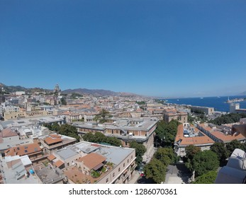 The panoramic view of Messina and the Strait of Messina, Sicily, Italy