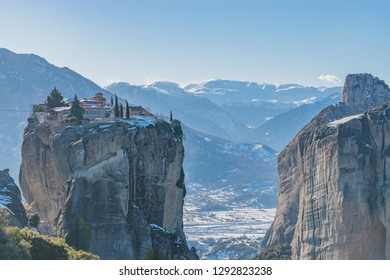 Panoramic view of Meteora monastery on the high rock  in winter time, Greece.