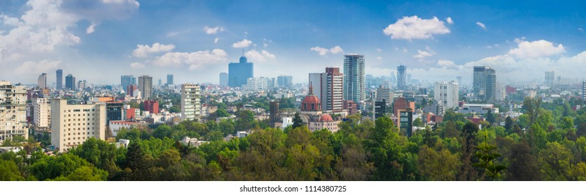 Panoramic view of Mexico city. Cityscape of Mexico city at sunny day