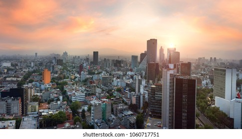 Panoramic View of Mexico City - Mexico. Reforma Paseo Mexico landmark at sunset time/