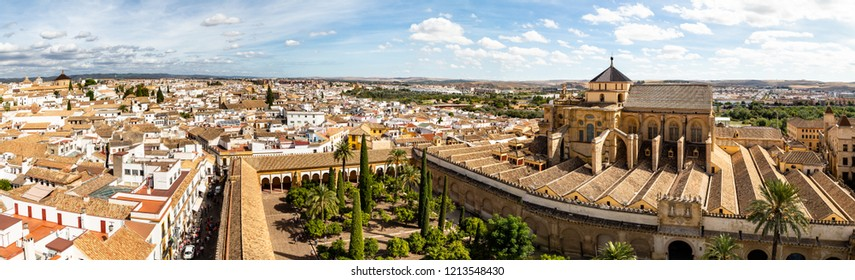 Panoramic view of Mezquita, Catedral de Cordoba, from the Bell tower, the former Minaret of the Moorish mosque. Cordoba, Andalucia, South of Spain. The cathedral is a UNESCO world heritage site.