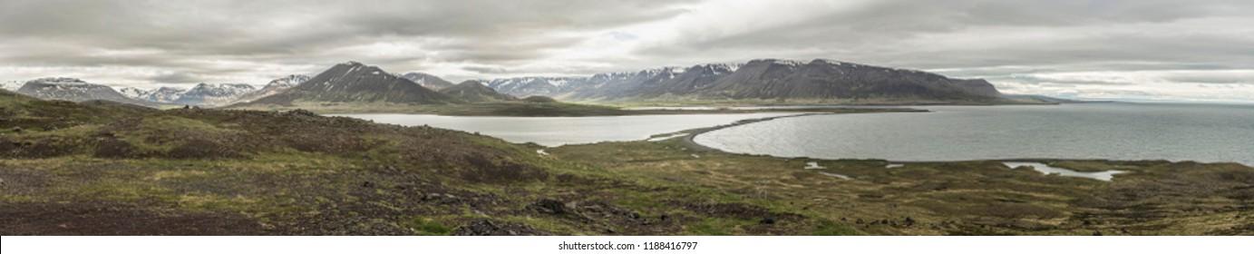 Panoramic view of Miklavatn Lake and Mountains on Tröllaskagi, Iceland