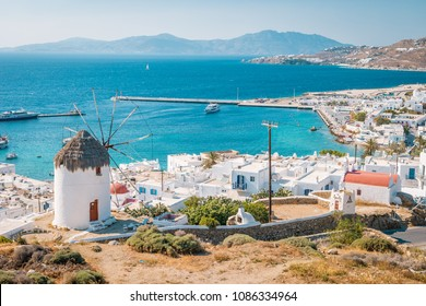 panoramic view at Mikonos, view from the hill with windmill and Mykonos town Greece