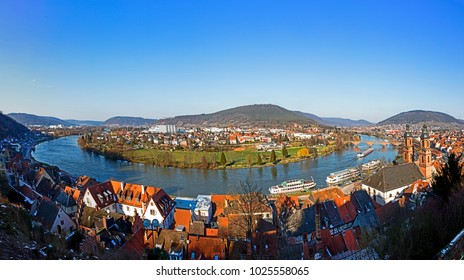 panoramic view of Miltenberg with river Main in Bavaria