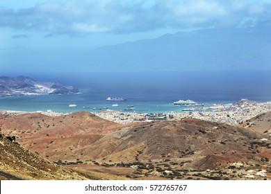 Panoramic view of Mindelo City, Cape Verde