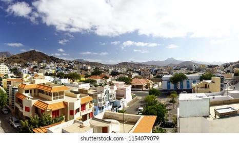 Panoramic view of the Mindelo rooftops on Cape Verde