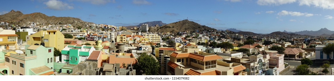 Panoramic view of the Mindelo rooftops on Cape Verde on a sunny day