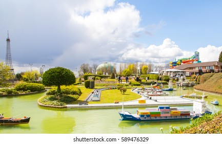 Panoramic view of the Mini Europe city in Belgium with many ships and Eiffel tower on the background in Brussel, Belgium.