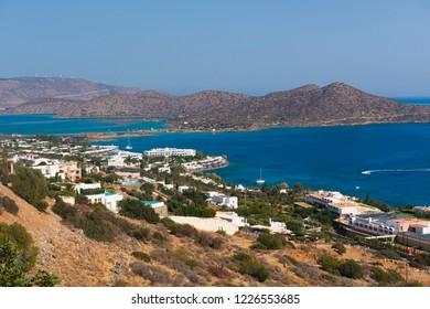 Panoramic view at Mirabello bay and town of Elounda, Crete. Greece