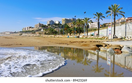 a panoramic view of Miracle Beach and the city of Tarragona, Spain
