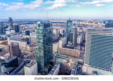 Panoramic view at the modern architecture buildings in the city center of Warsaw, Poland.