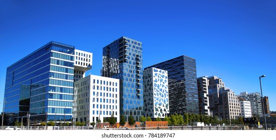 Panoramic View Of Modern buildings in Oslo, Norway