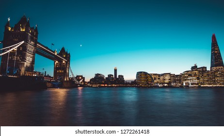 Panoramic view modern London city skyline on River Thames sunset night