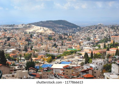 panoramic view of modern Nazareth, a city in the Galilee, north of Israel, here passed the childhood and youth of Jesus Christ