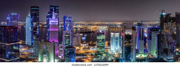 Panoramic view to the modern skyline of the City Center West Bay of Doha, Qatar, during night time