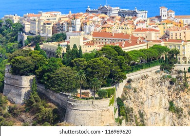 Panoramic view of Monaco with palace (Chateau Grimaldi), old town, cathedral and Oceanography museum