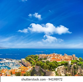 panoramic view of Monaco with palace and harbor. Cote d'Azur. french riviera