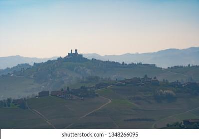 Panoramic view of the Monferrato langhe region, near Calosso town, Costigliole d'Asti, Piedmont, Italy.