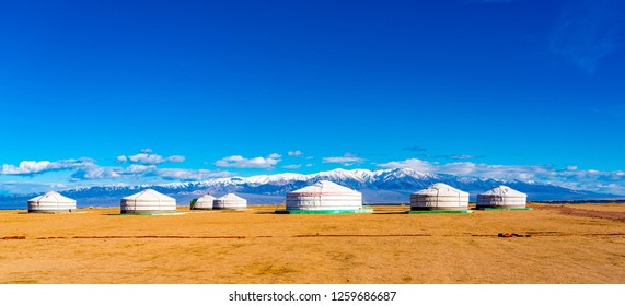 Panoramic view of mongolian ger on a large steppe with the snow mountain in the background at the city of Khovd in Mongolia